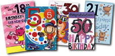 Birthday Age Cards .. 1st, 18th, 21st ... all from just 49p