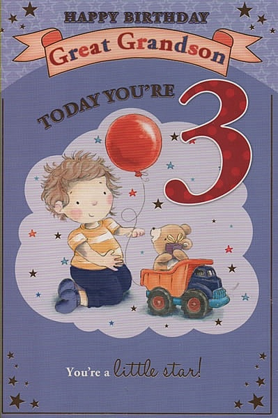 Male Relation Birthday Cards Happy Birthday Great Grandson Today