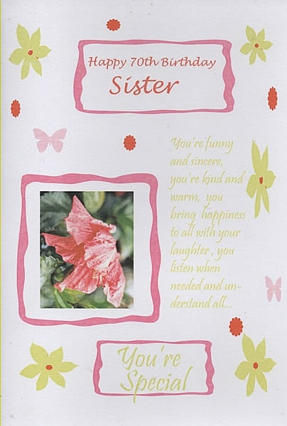 Birthday Cards Female Relation Sister Age Happy 70th