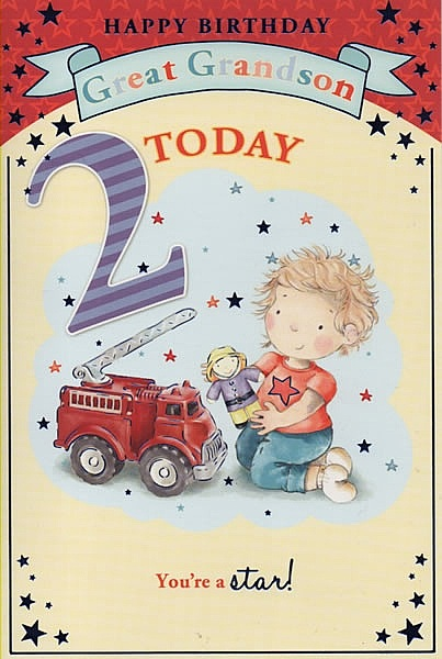 Male Relation Birthday Cards Happy Birthday Great Grandson 2 Today
